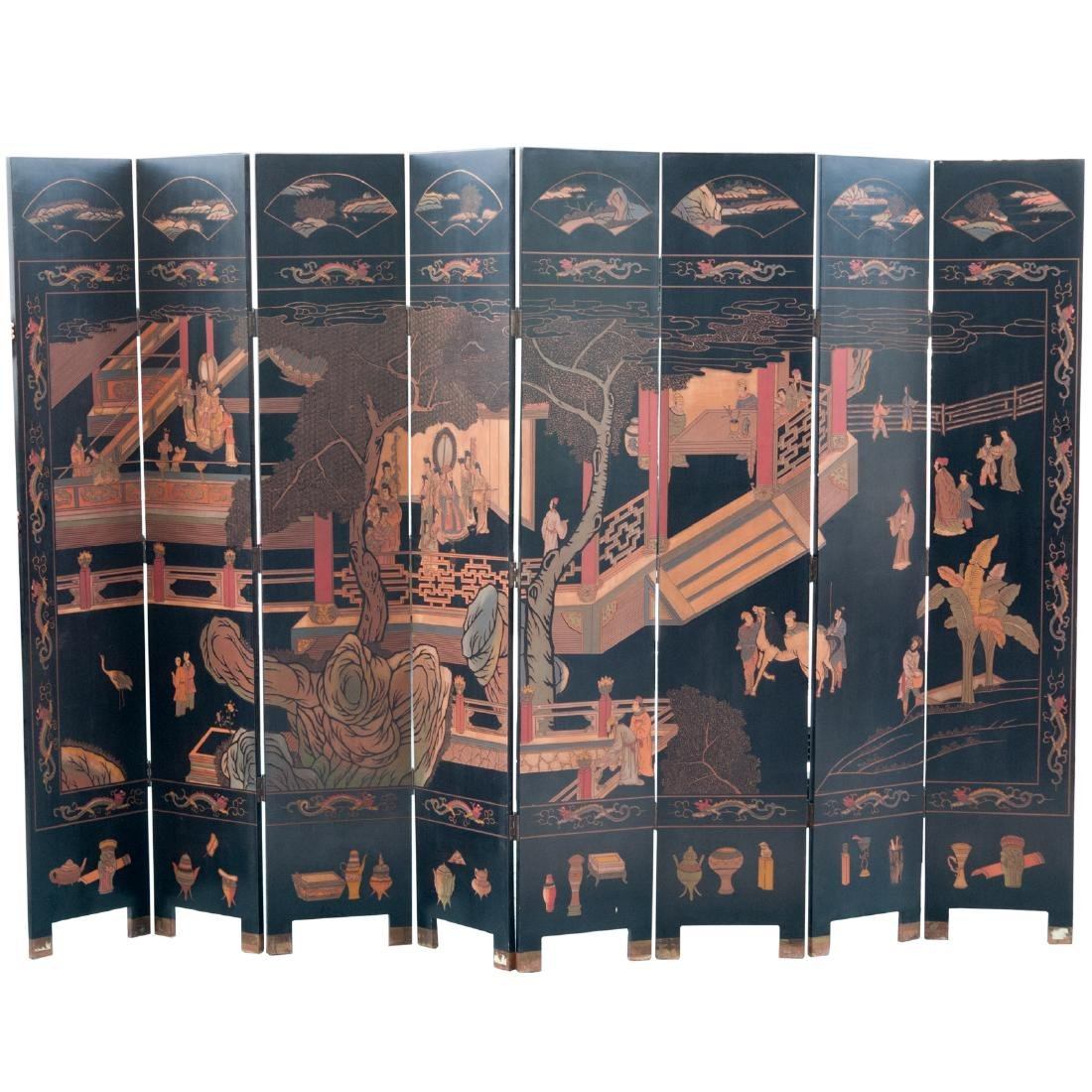 Large Chinese Carved Lacquered Screen