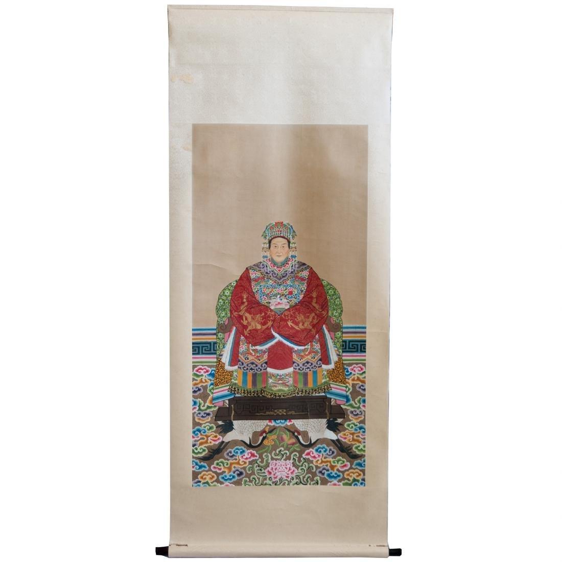 Chinese Gouache On Silk Scroll