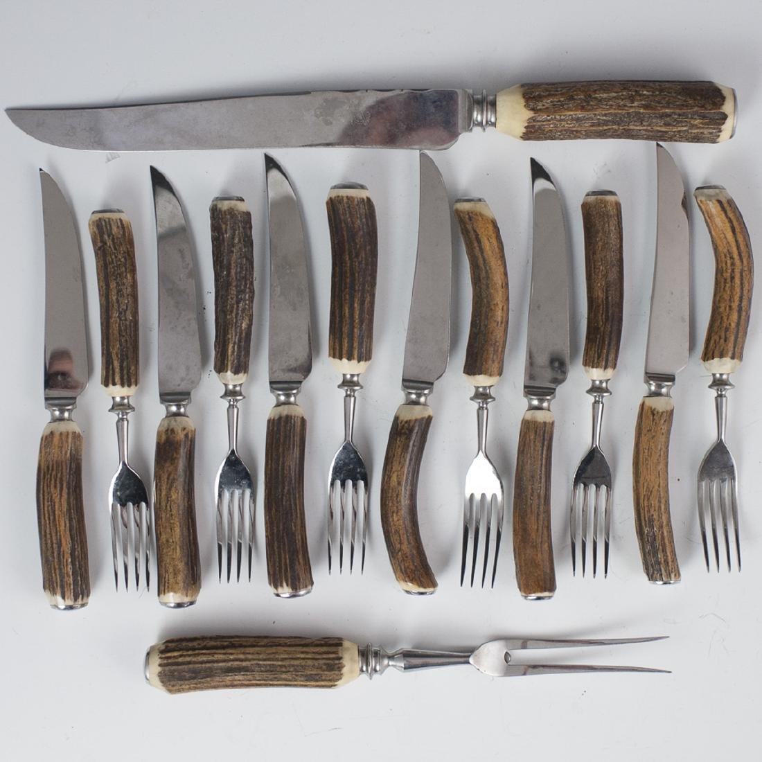 Lewis & Horn Co. Sheffield Elkhorn Cutlery Set