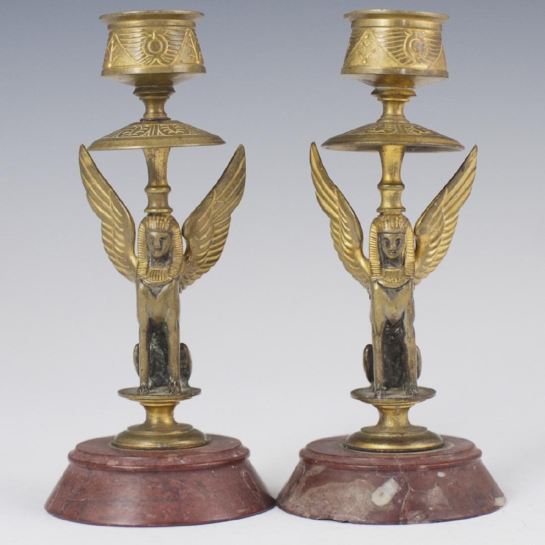 Antique Egyptian Revival Dore Bronze Candlesticks