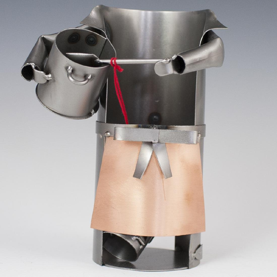 Italian Recycled Metal Steampunk Wine Bottle Holder