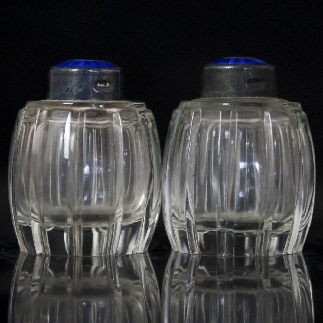 Meka Sterling Guilloche Enameled Crystal Salt Cellars