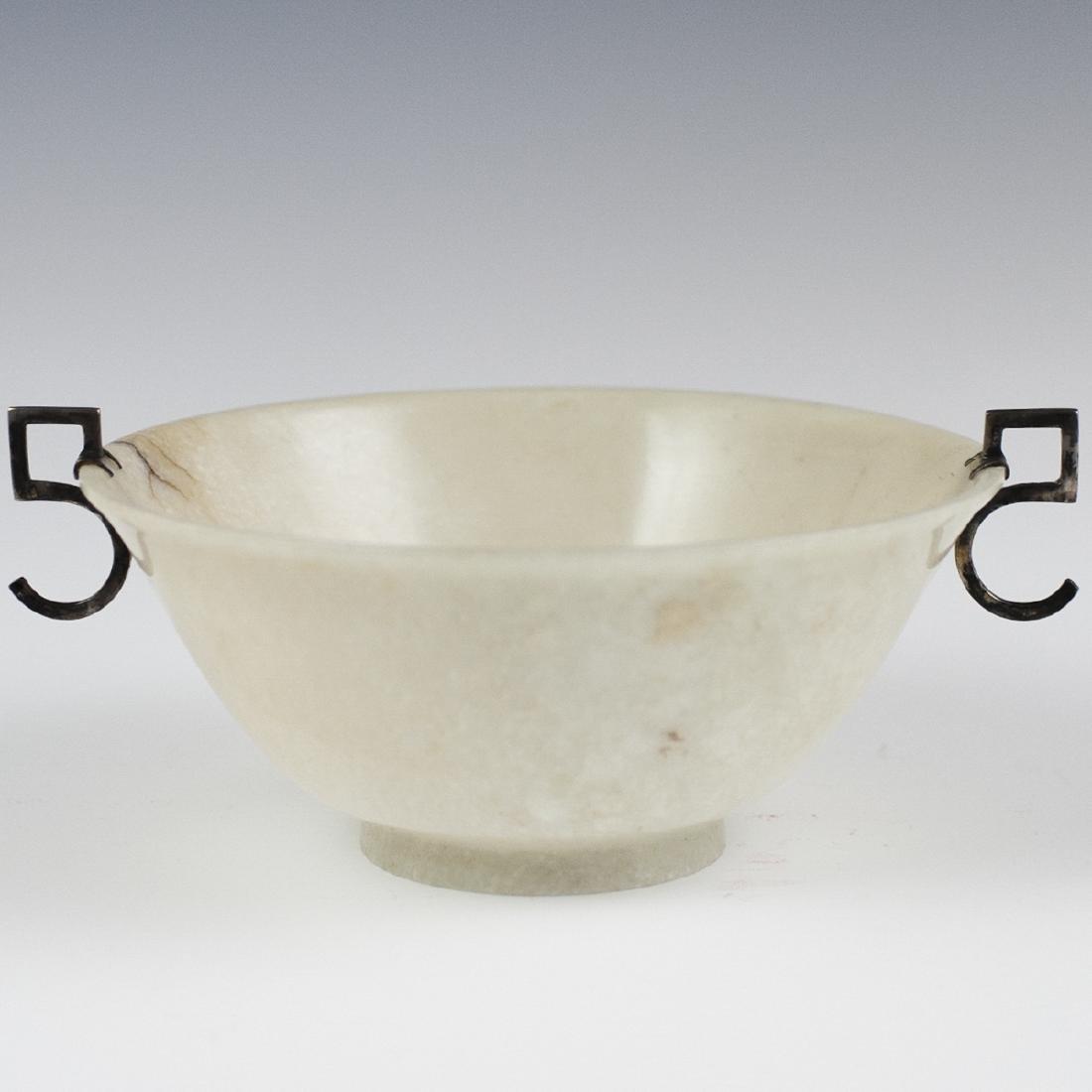 Chinese Silver Mounted White Jade Bowl