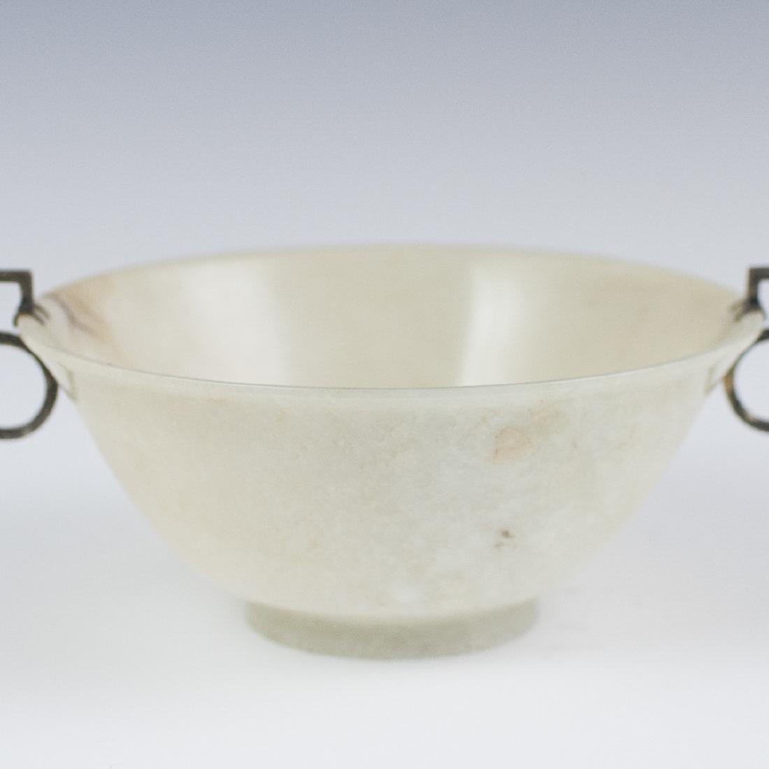 Chinese Silver Mounted White Jade Bowl - 5