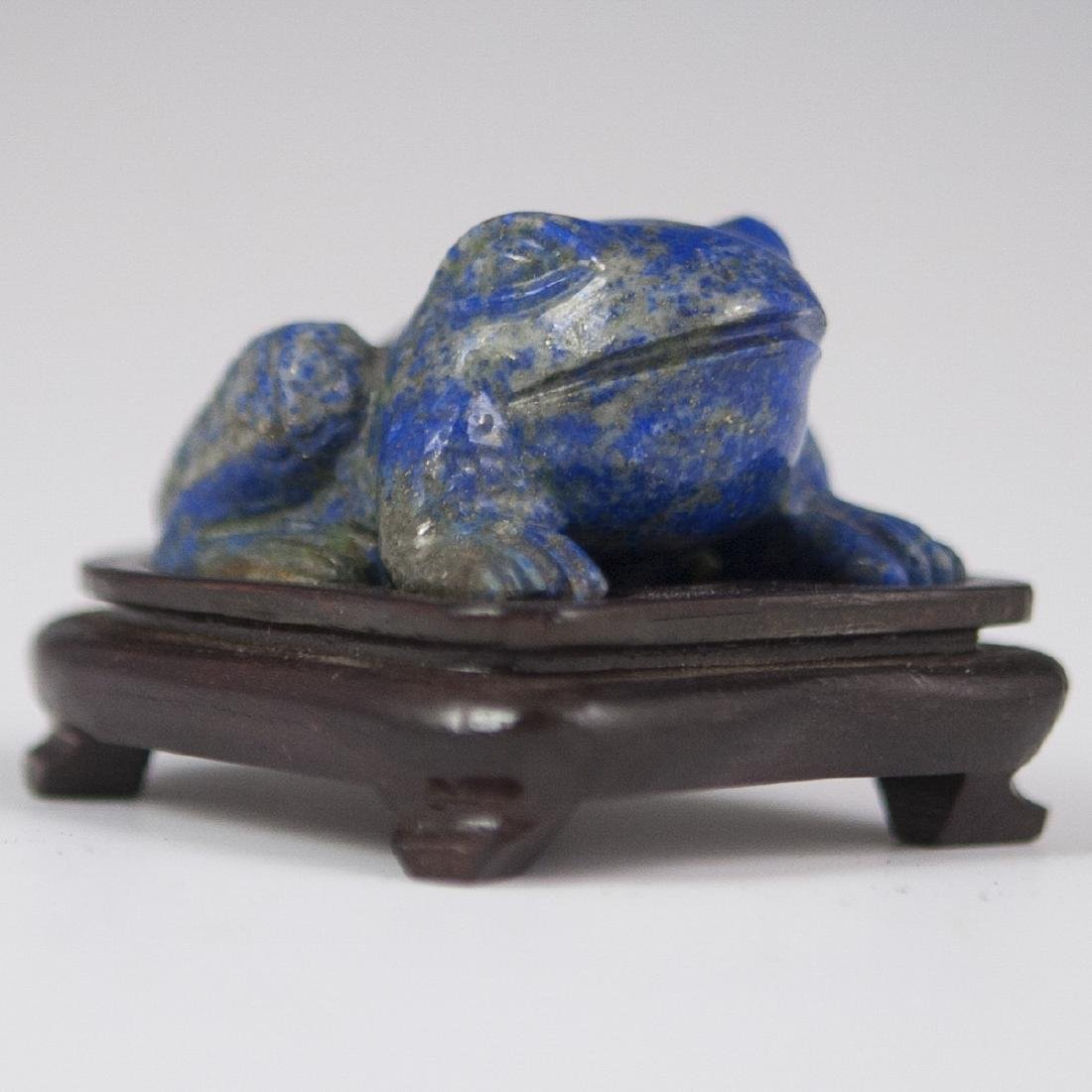 Chinese Carved Lapis Lazuli Frog Figurine