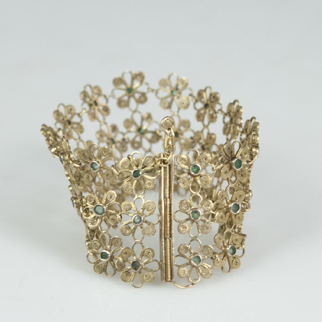 Vintage 14kt Gold & Emerald Bracelet