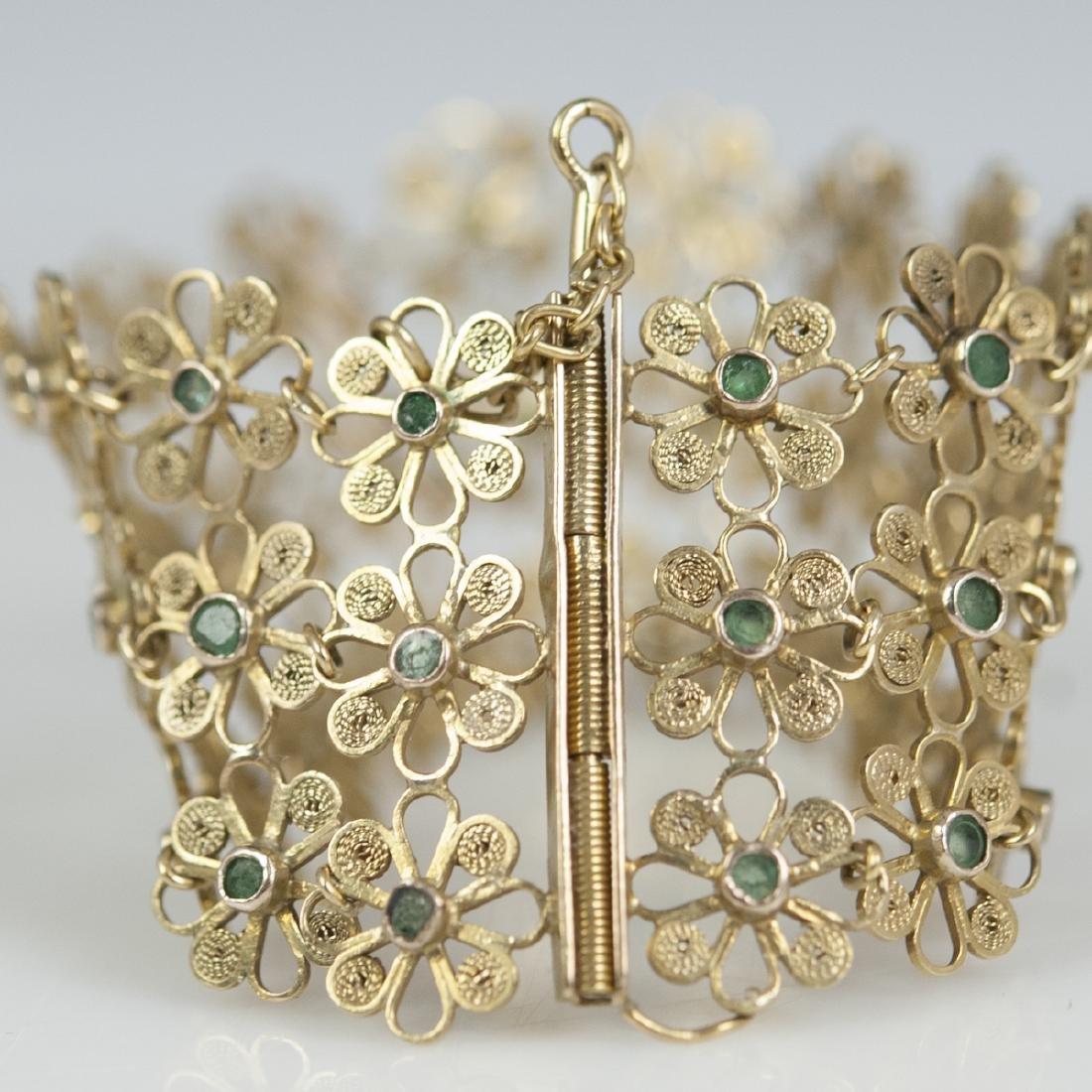 Vintage 14kt Gold & Emerald Bracelet - 2