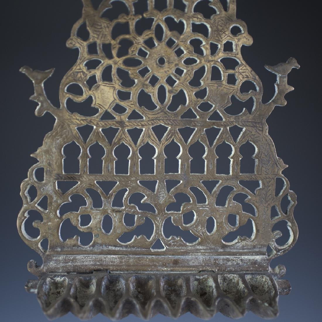 Antique Moroccan Bronze Oil Menorah - 3