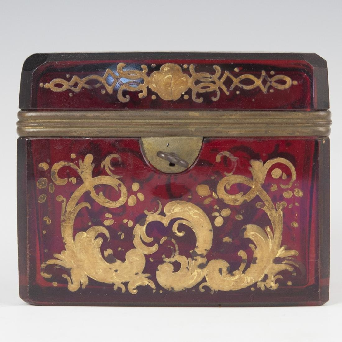 Antique Moser Ruby Glass Box