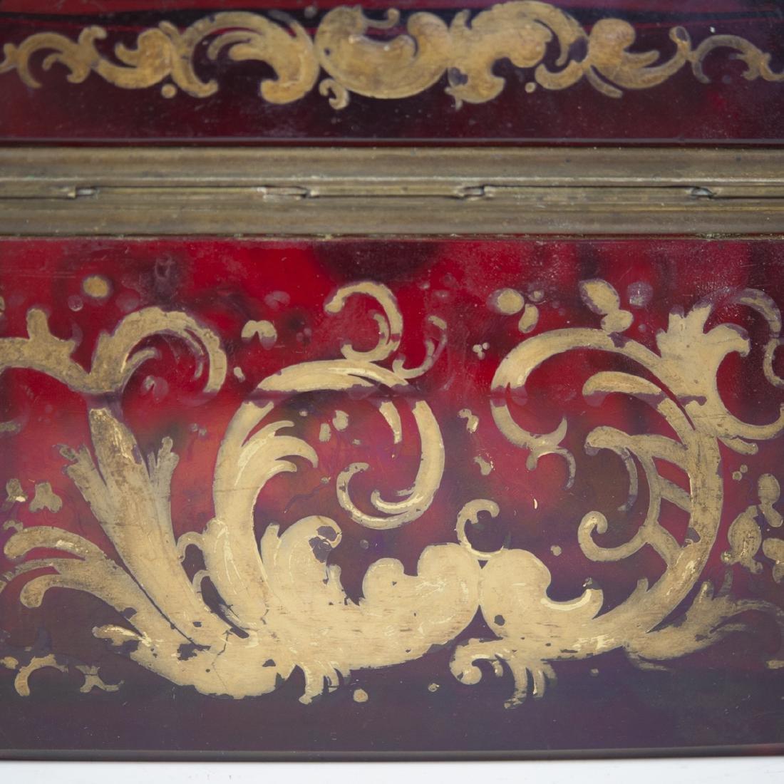 Antique Moser Ruby Glass Box - 4