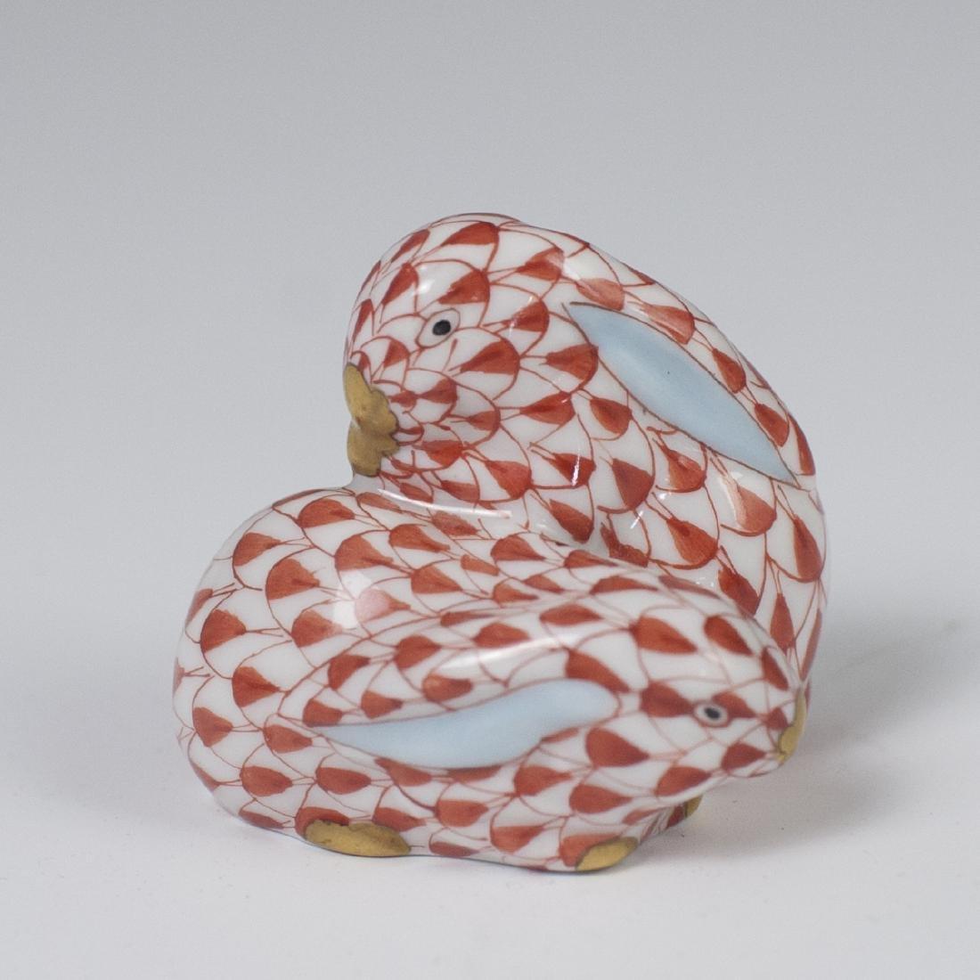 Herend Porcelain Fishnet Double Rabbit