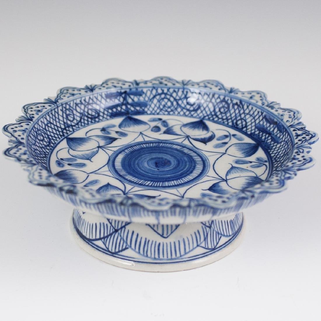 Antique Chinese Blue & White Porcelain Stem Bowl