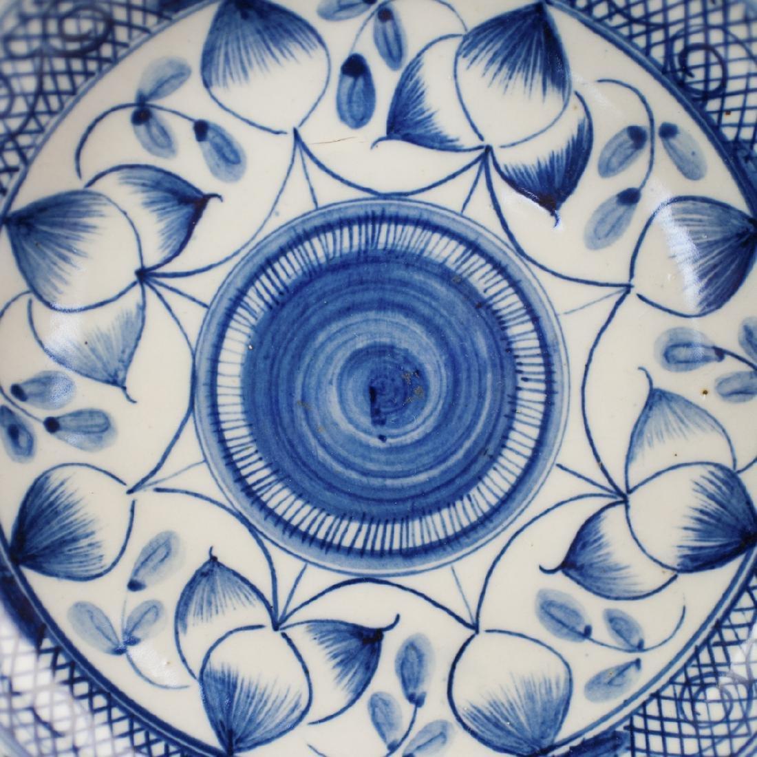 Antique Chinese Blue & White Porcelain Stem Bowl - 3