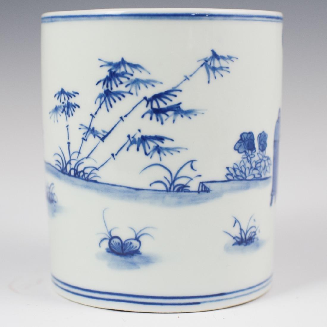 Chinese Porcelain Blue & White Brush Pot - 4