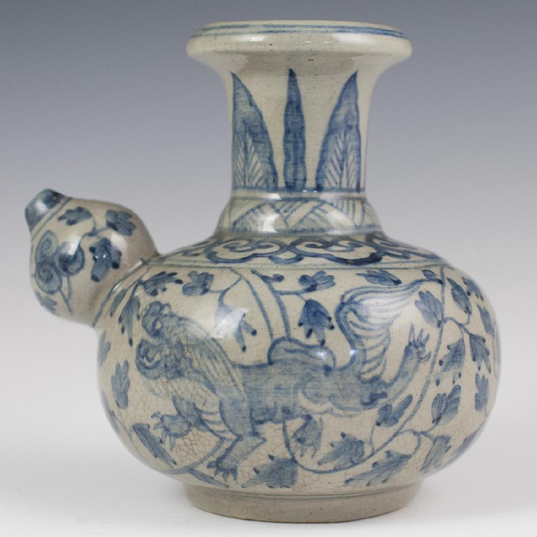 Antique Chinese Porcelain Blue & White Kendi - 2