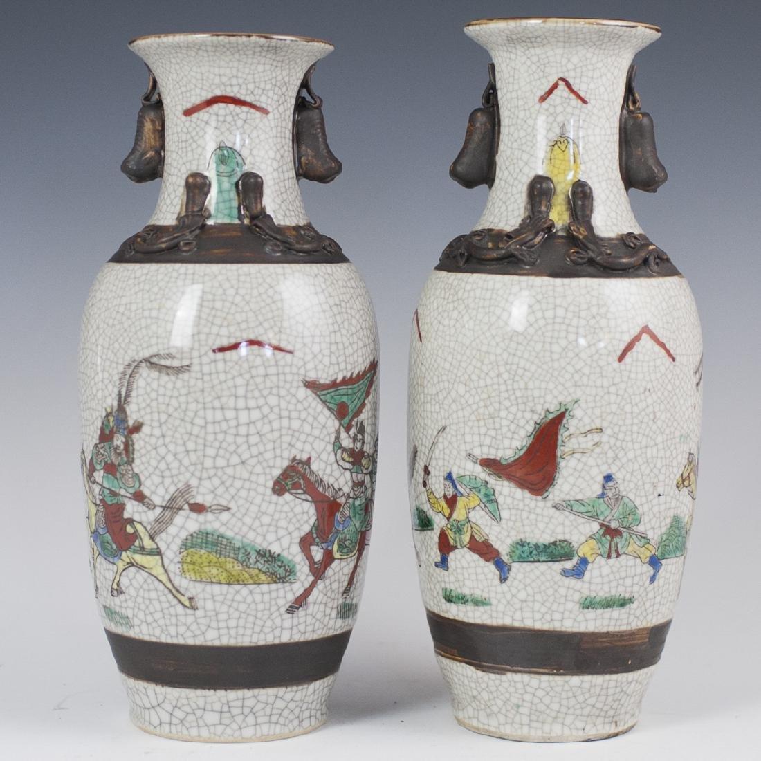 Chinese Crackle Glazed Warrior Vases