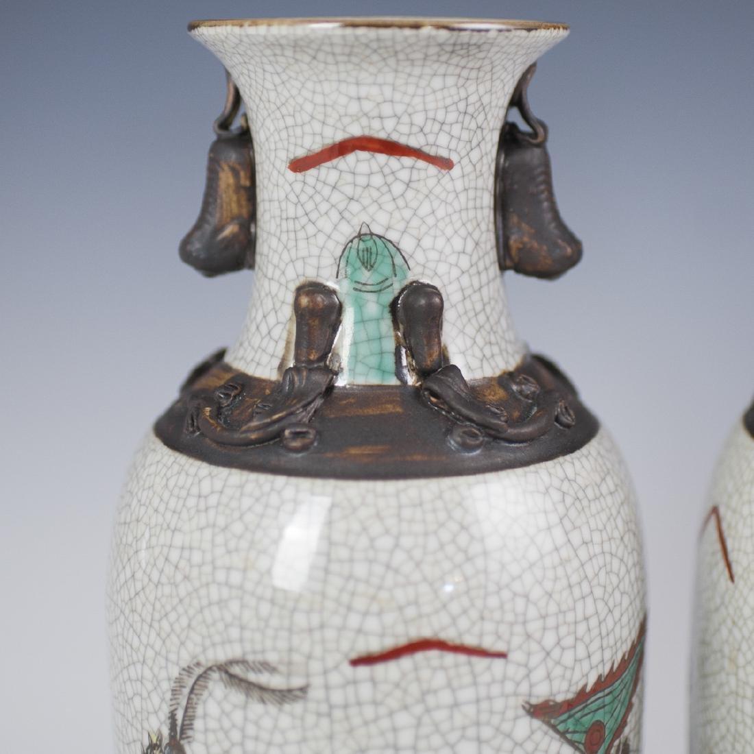 Chinese Crackle Glazed Warrior Vases - 2