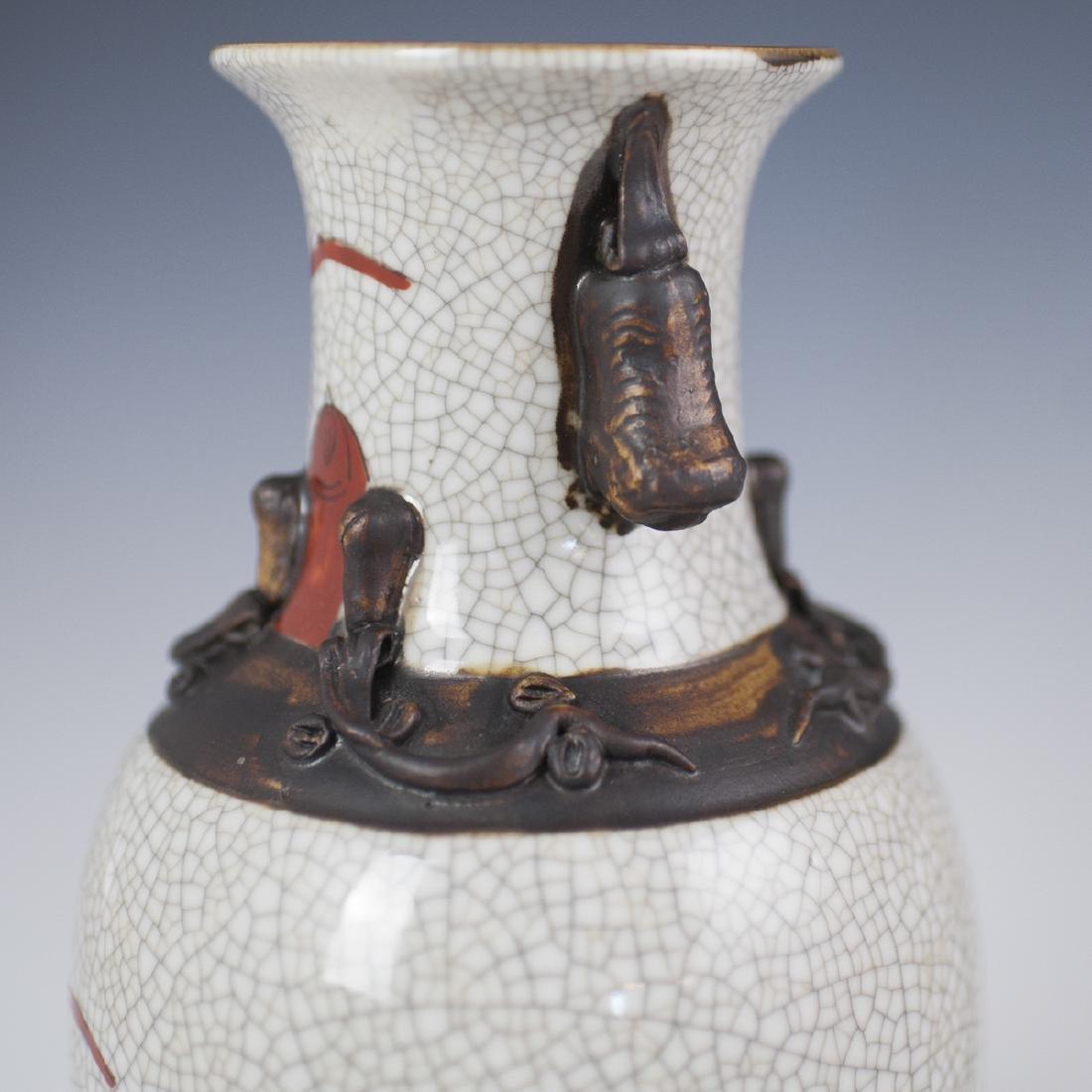Chinese Crackle Glazed Warrior Vases - 4