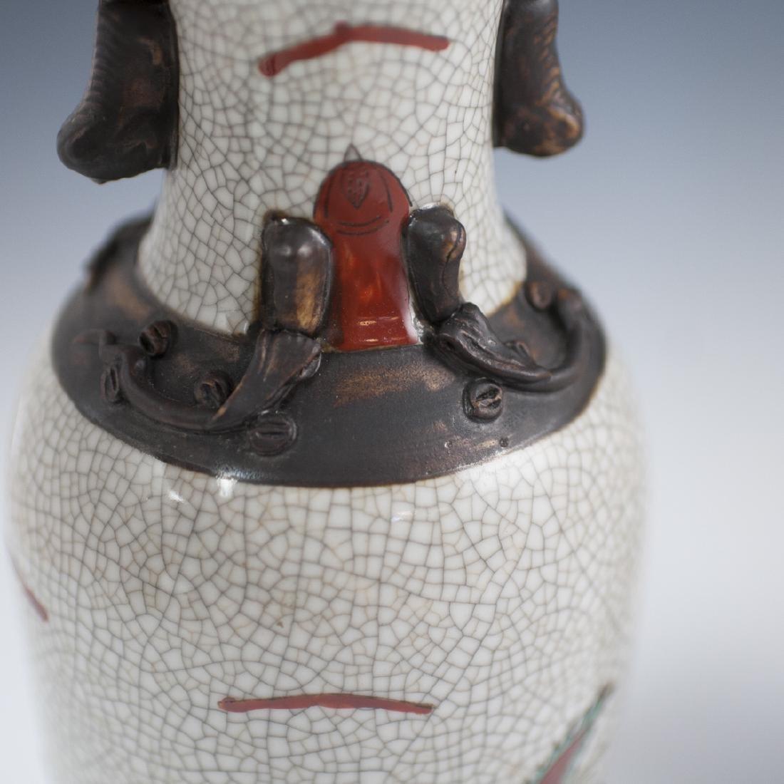 Chinese Crackle Glazed Warrior Vases - 5