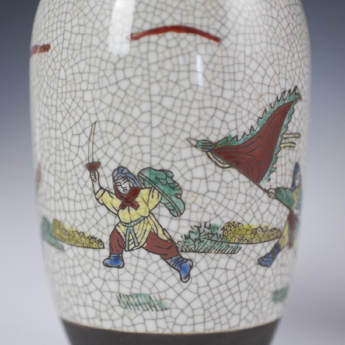 Chinese Crackle Glazed Warrior Vases - 6