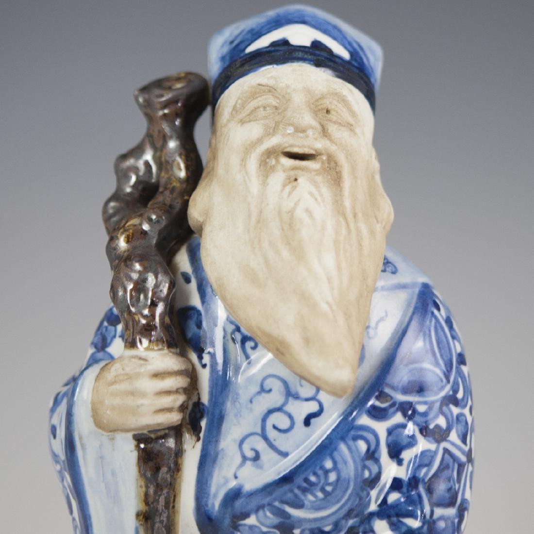 Chinese Glazed Pottery Shou Xing Figurine - 2