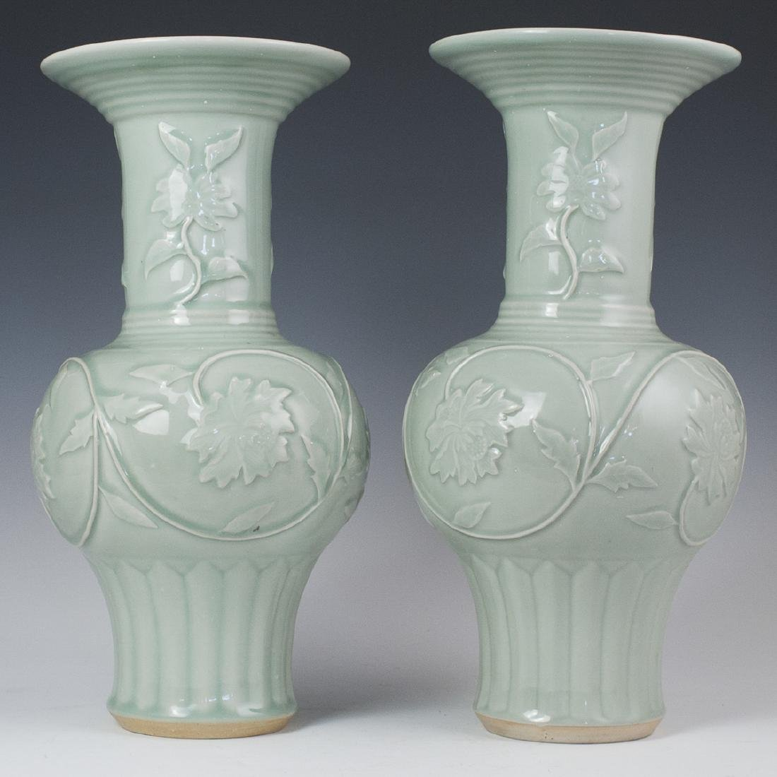 Chinese Celadon Ceramic Fengweizun Vases