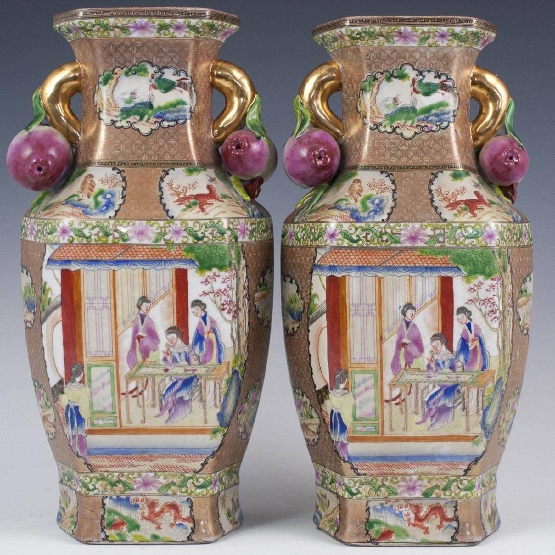 Chinese Rose Medallion Porcelain Vases