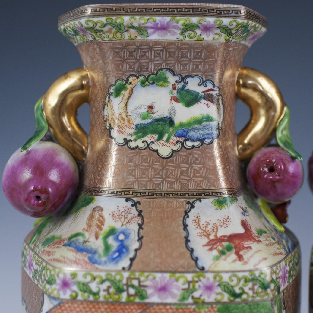 Chinese Rose Medallion Porcelain Vases - 2