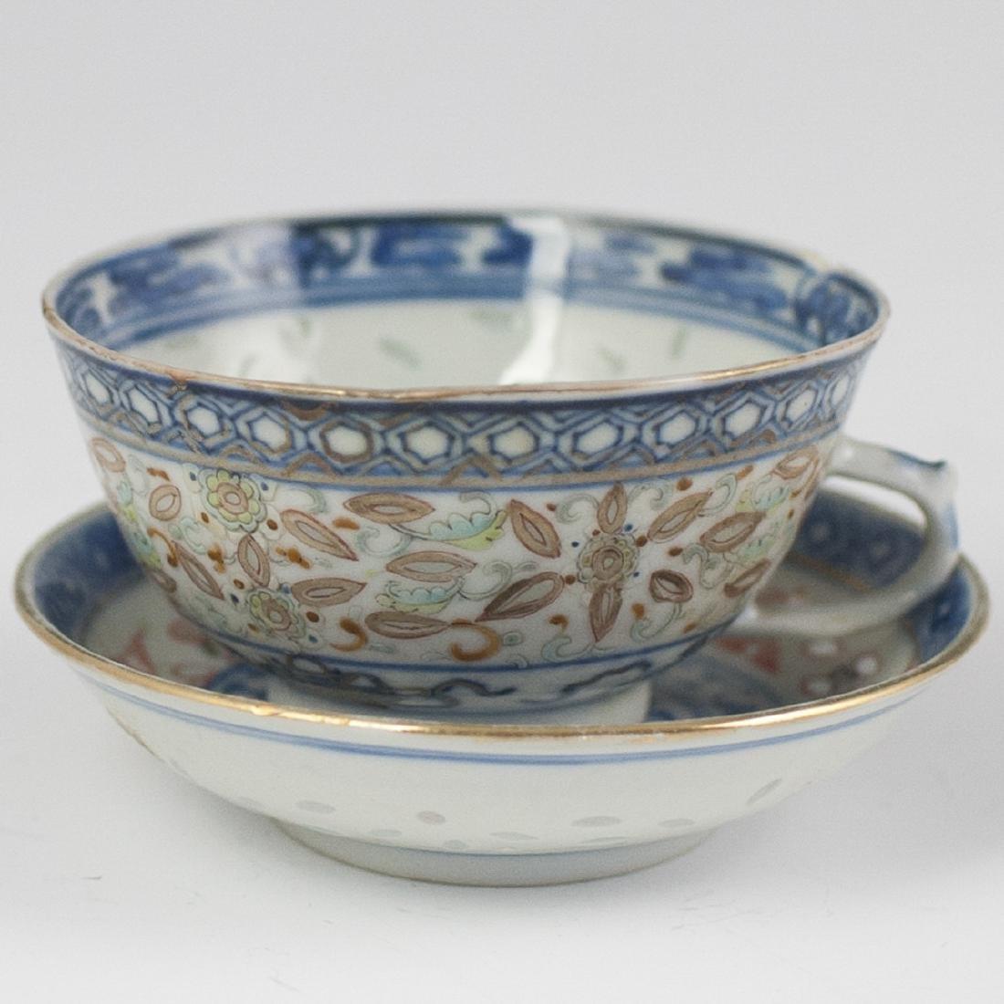Chinese Porcelain De Riz Ware Demitasse Set