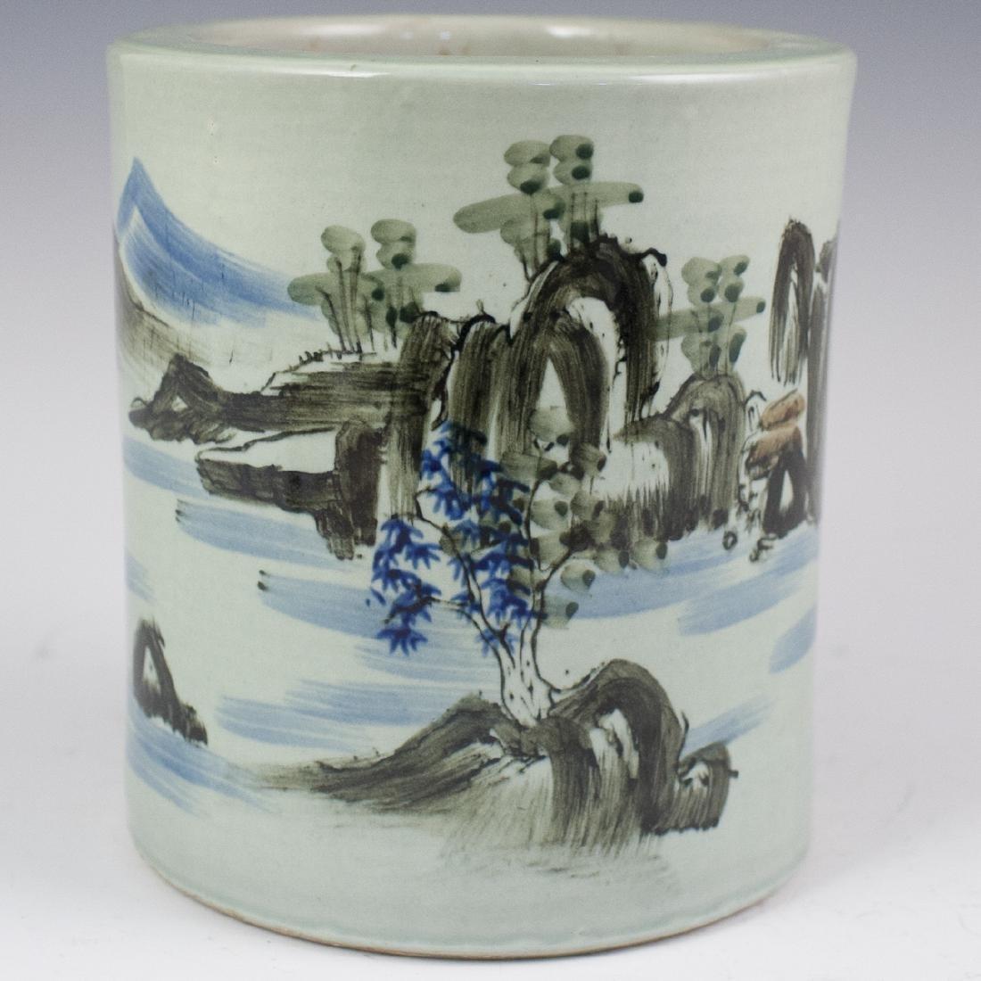 Chinese Celadon Ceramic Brush Pot