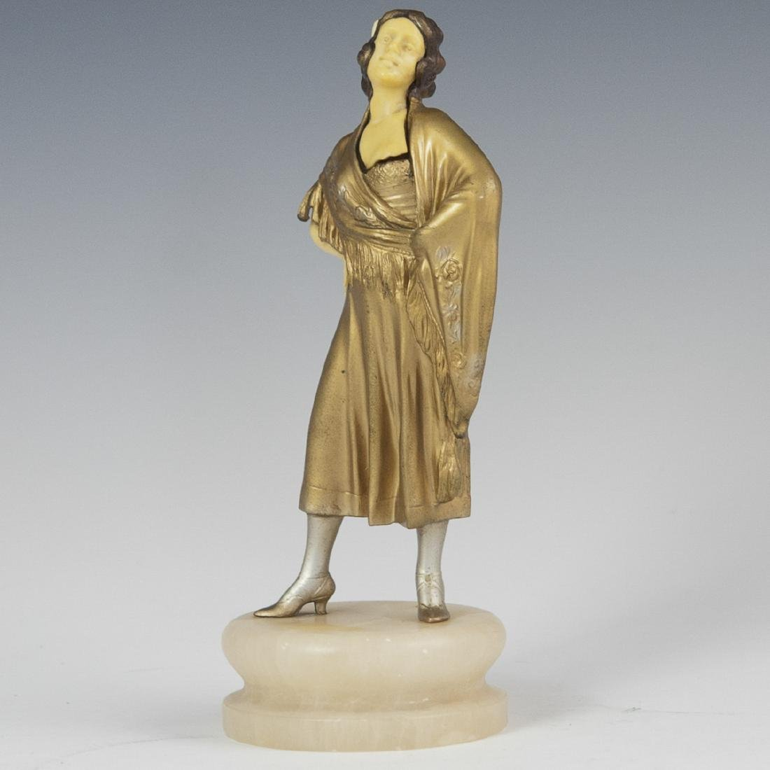 Art Deco Polychromed Spelter Sculpture