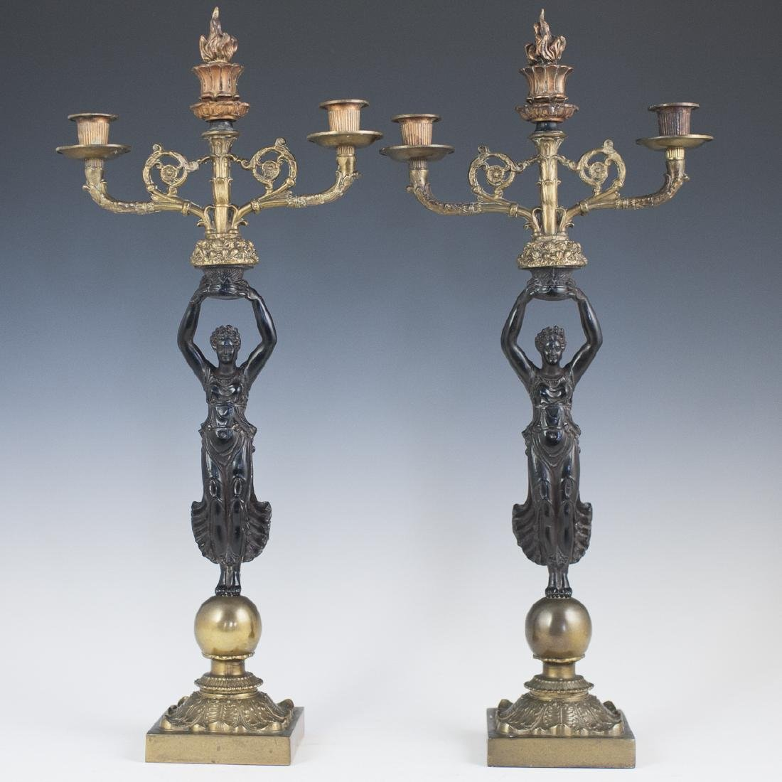 French Empire Style Two Tone Bronze Candelabras
