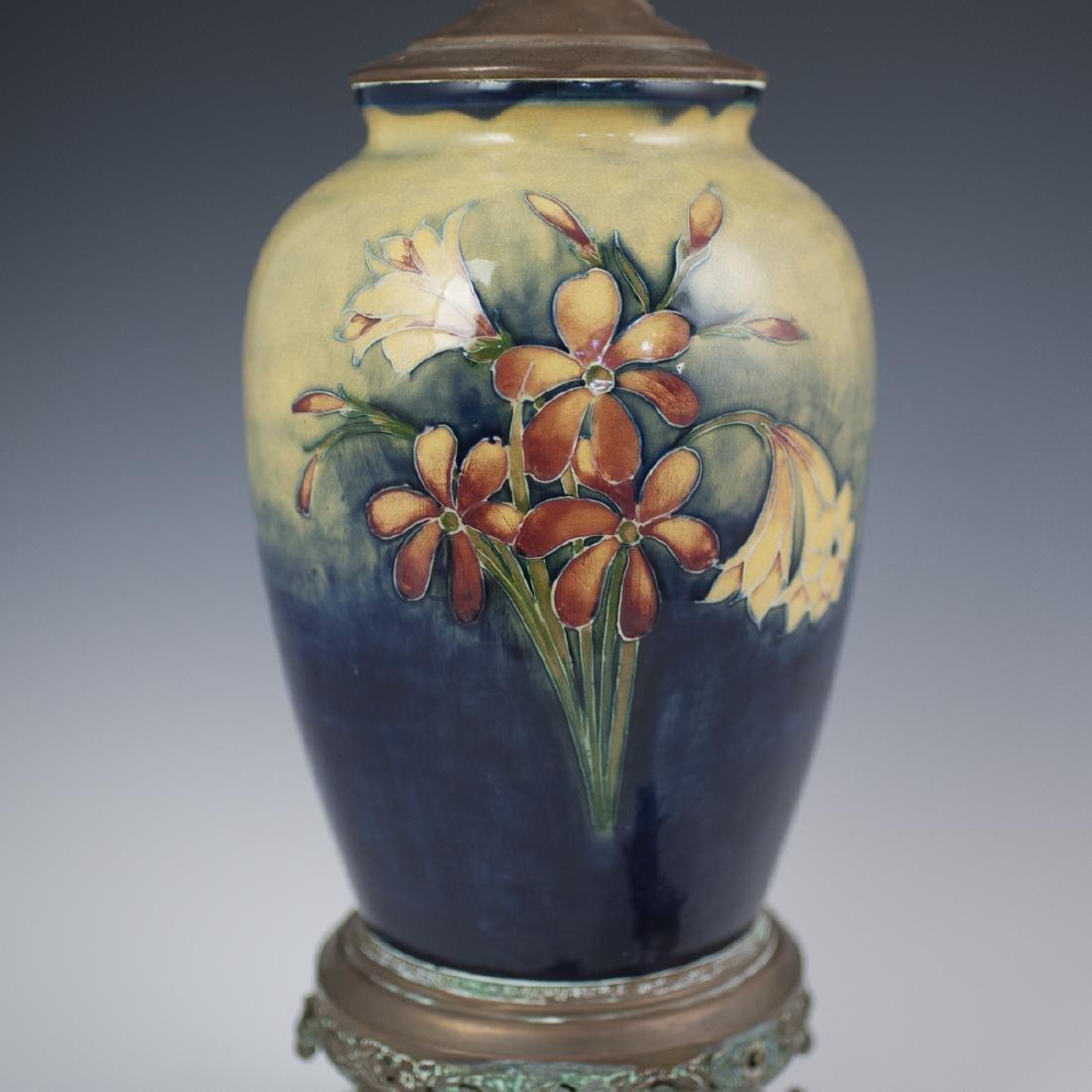 "Moorcroft ""Spring Flowers"" Converted Porcelain Lamp - 4"