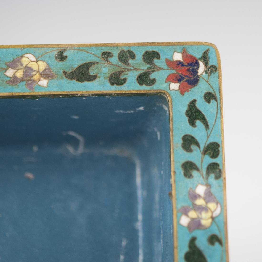 Chinese Cloisonne Enameled Footed Planter - 2
