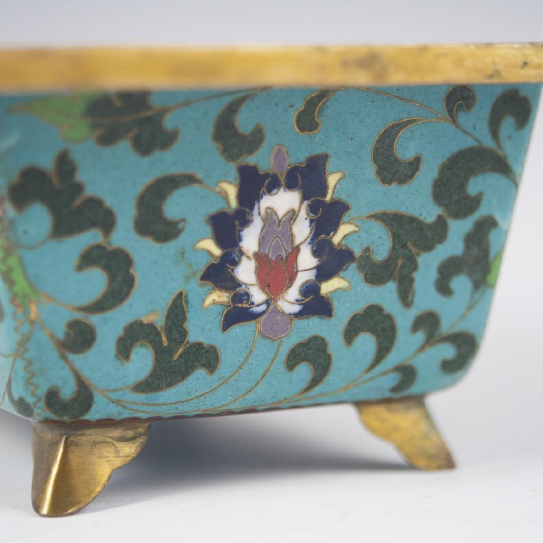 Chinese Cloisonne Enameled Footed Planter - 3
