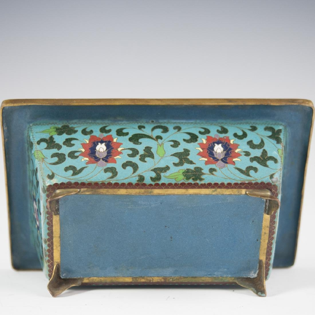 Chinese Cloisonne Enameled Footed Planter - 4