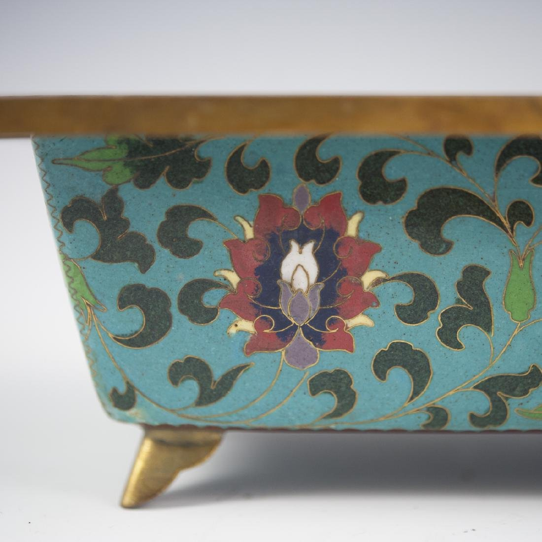 Chinese Cloisonne Enameled Footed Planter - 5