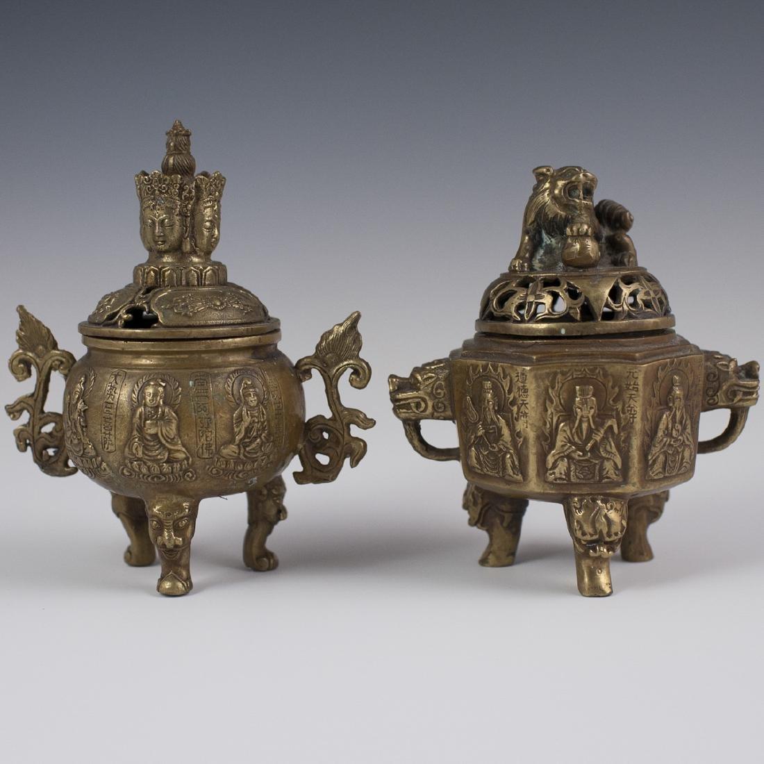 Chinese Dore Bronze Tripod Censers
