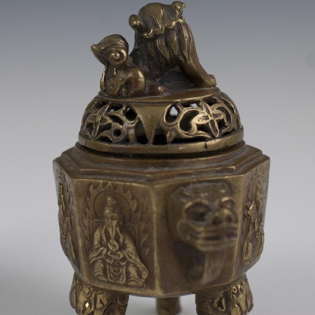 Chinese Dore Bronze Tripod Censers - 3