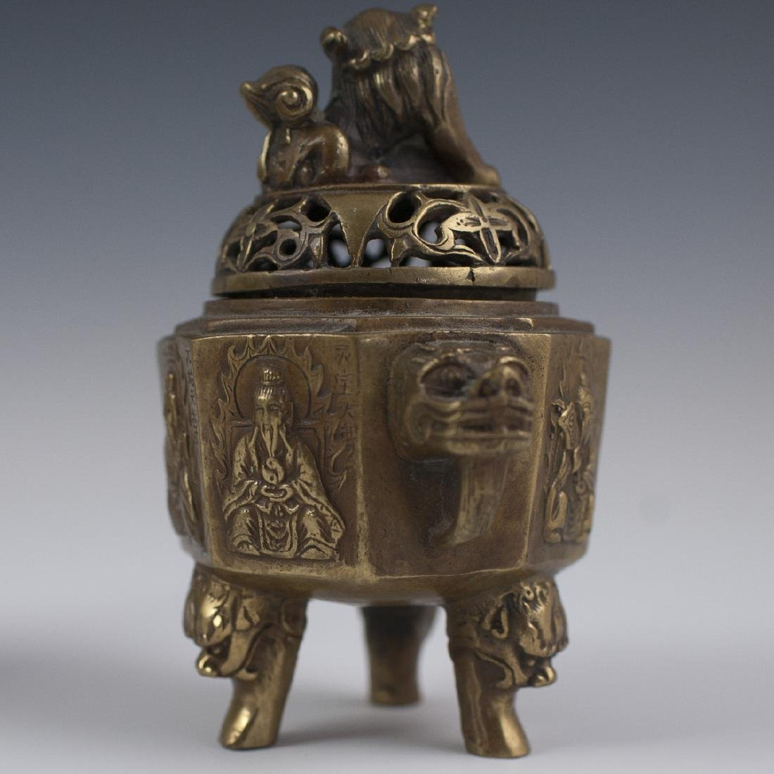Chinese Dore Bronze Tripod Censers - 4