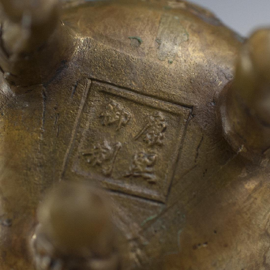 Chinese Dore Bronze Tripod Censers - 8