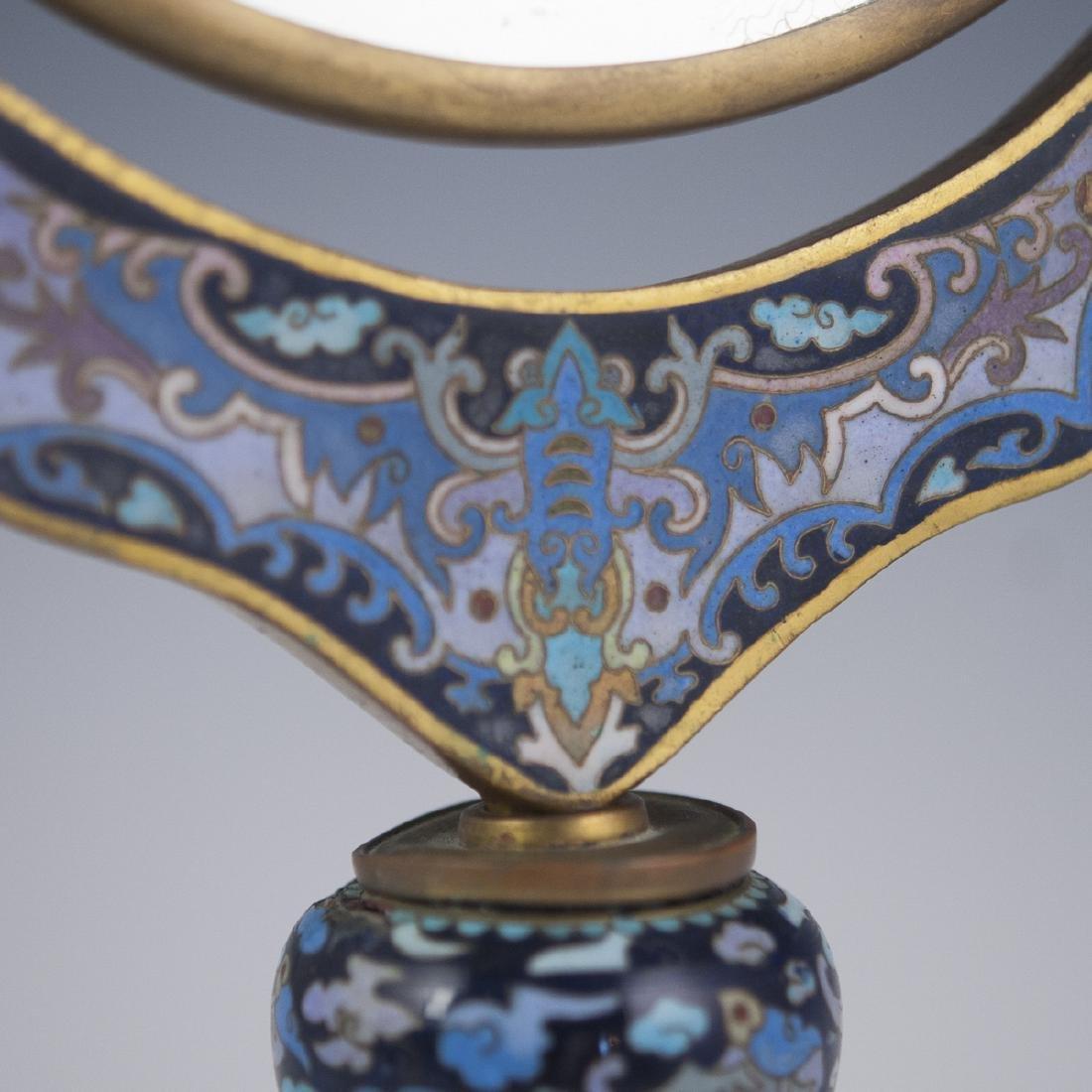 Chinese Cloisonne Enameled Vanity Mirror - 2