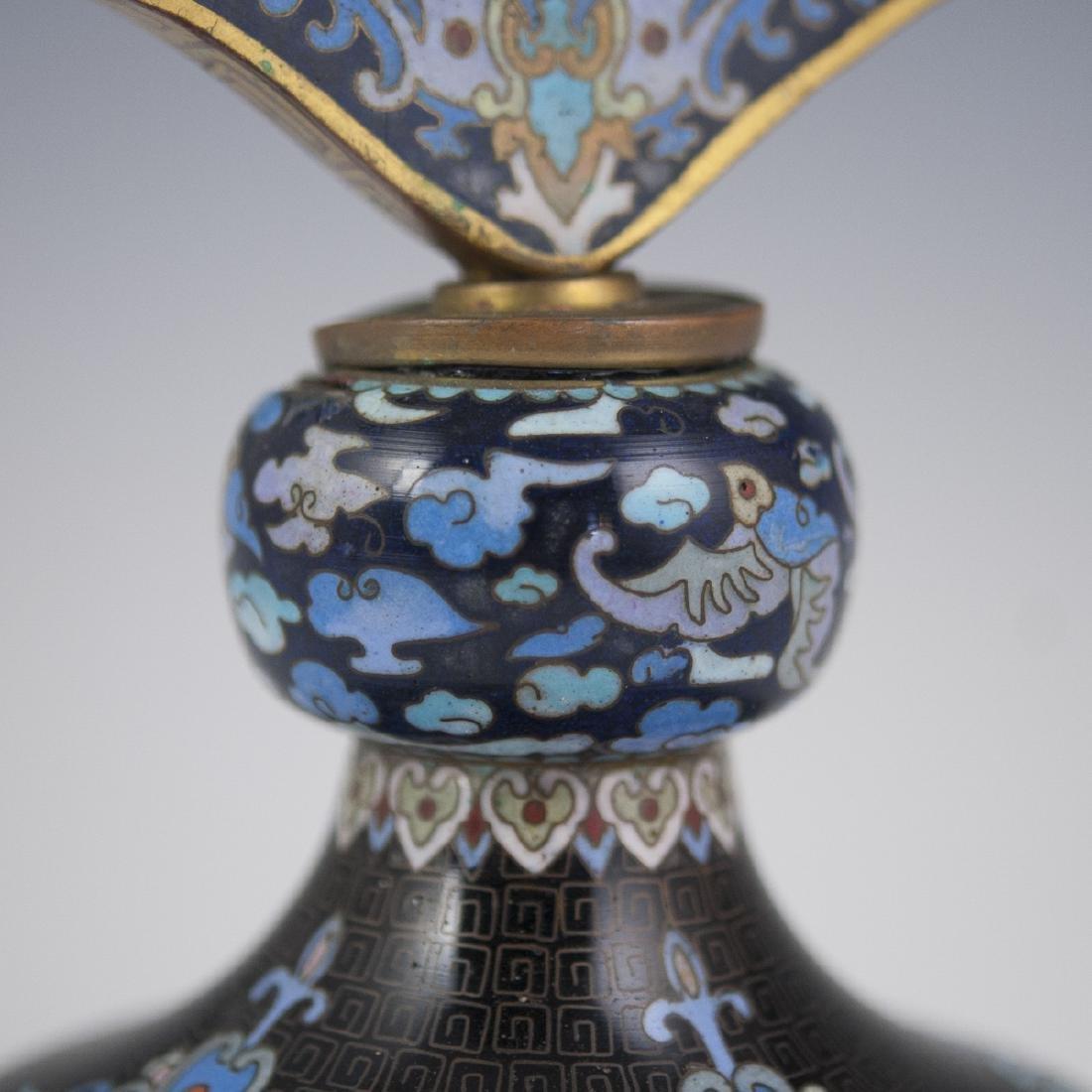 Chinese Cloisonne Enameled Vanity Mirror - 3
