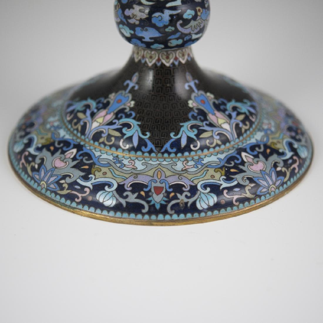Chinese Cloisonne Enameled Vanity Mirror - 4