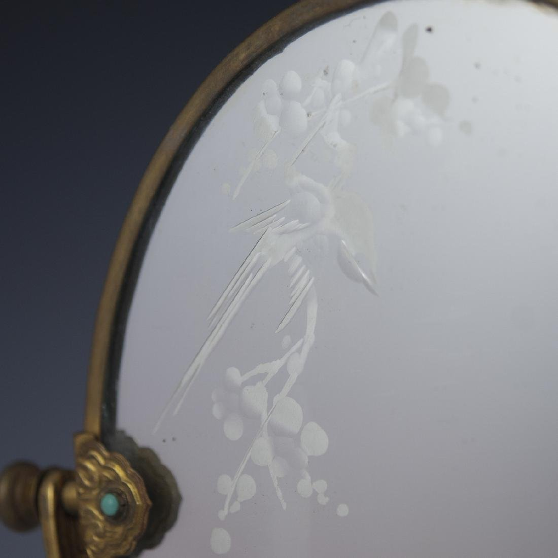 Chinese Cloisonne Enameled Vanity Mirror - 6
