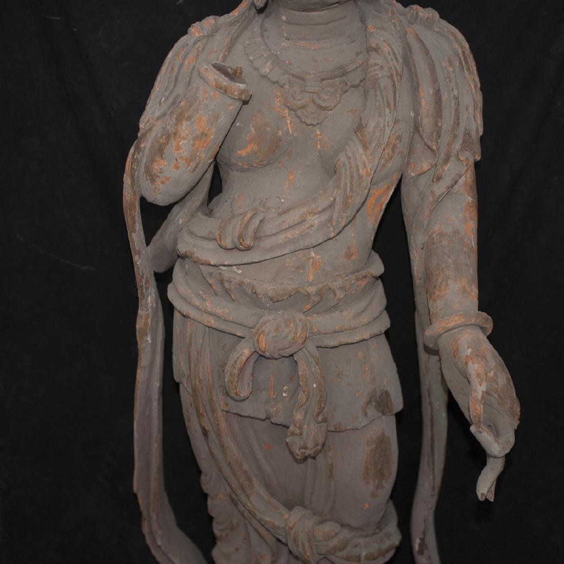 Antique Chinese Polychrome Wood Guanyin - 3