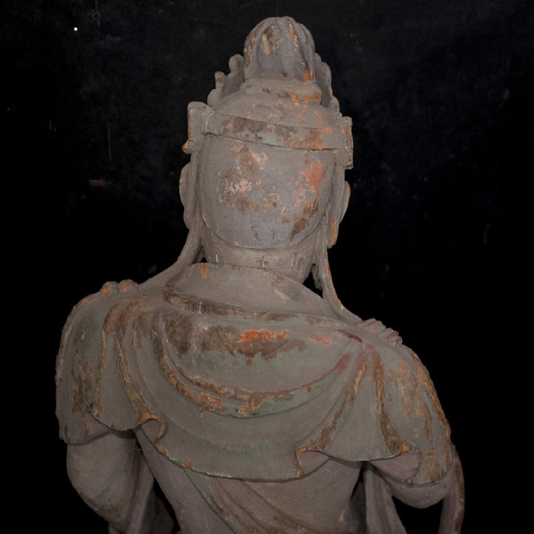 Antique Chinese Polychrome Wood Guanyin - 5