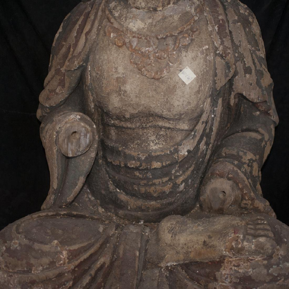 Antique Chinese Polychrome Wood Guanyin - 6