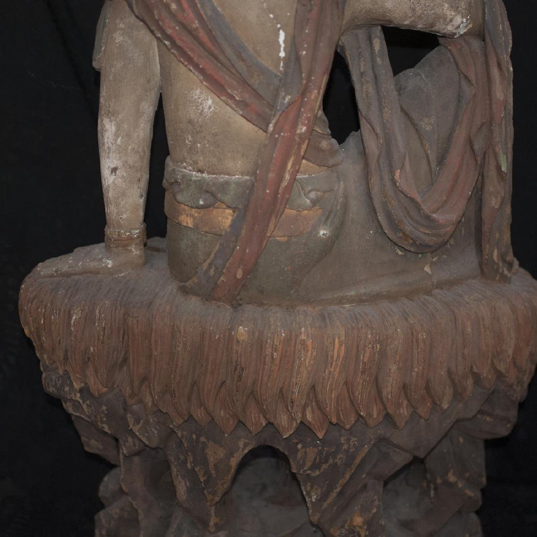 Antique Chinese Polychrome Wood Guanyin - 10