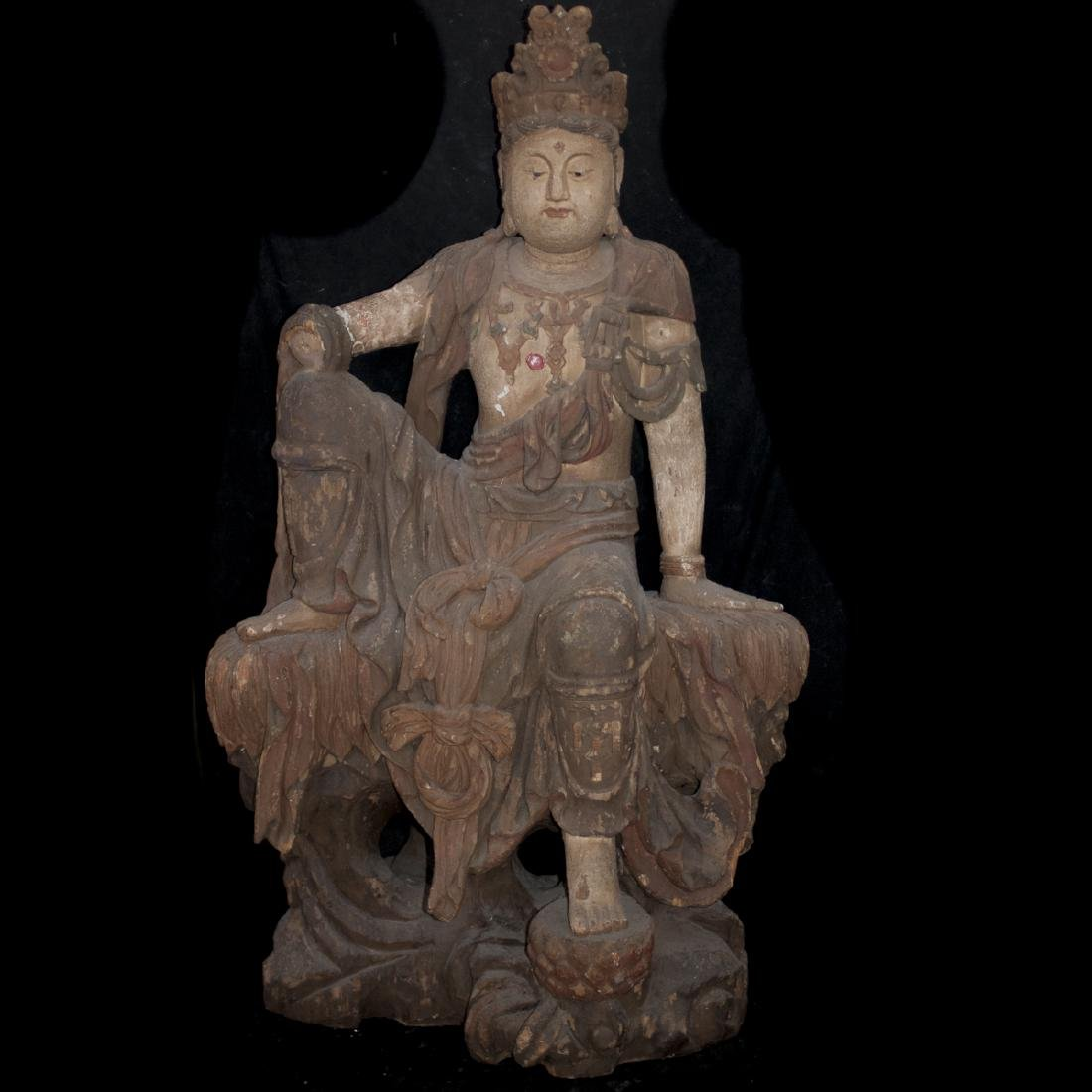Antique Chinese Polychrome Wood Guanyin